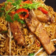 Pork Chop or Chicken Steak with Stir-Fried Instant Noodles or Udon in XO Sauce - Tsim Sha Tsui